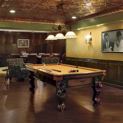 game room for billiard table built as part of this basement remodel