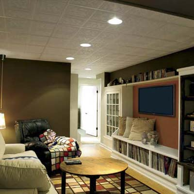 cozy home theater built as part of this basement remodel