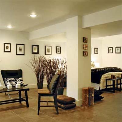large open guest suite built as part of this basement remodel