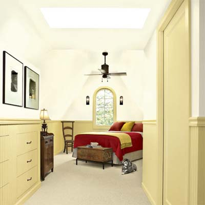 open layout master bedroom with skylight from a remodeled attic