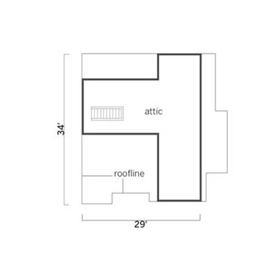 existing floorplan of the attic before remodel