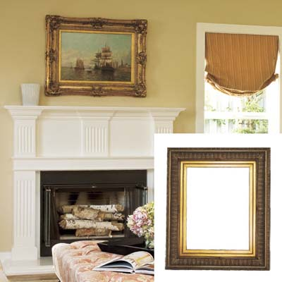 Gold ornate frame in colonial living room