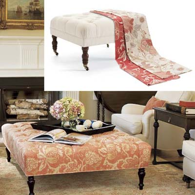 Oversized ottoman used as table or footrest