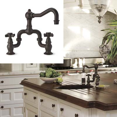 Brass faucet on a kitchen island