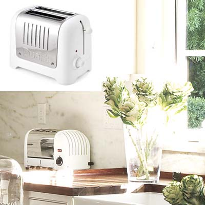 white toaster is retro-modern in rustic kitchen