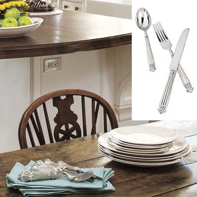 stainless steel fork, knife and spoon