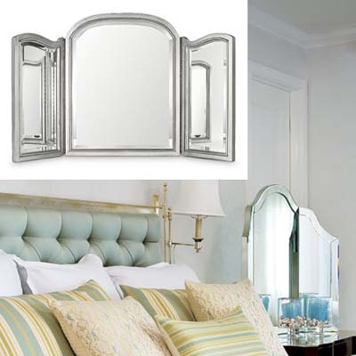 Beveled vanity mirror dresses up bedroom