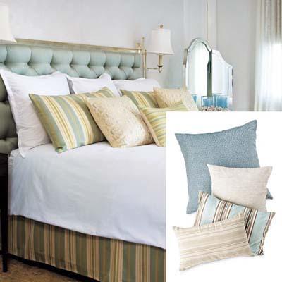 Beveled vanity mirror dresses up bedroom
