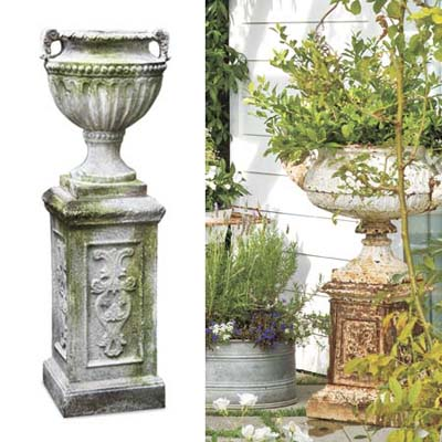 Antiqued urn hold overflowing greens in garden