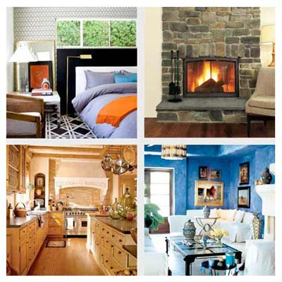 clockwise from top left: a Hollywood Hills bedroom, a ski lodge family room, a Marrakesh dining room, a Tuscan kitchen