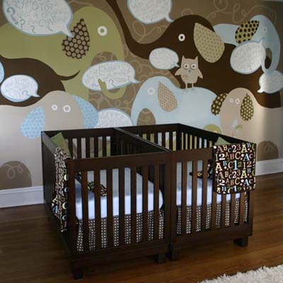 nursery with elephant mural
