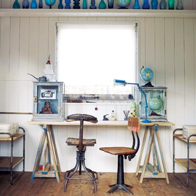 rustic workspace with salvaged materials