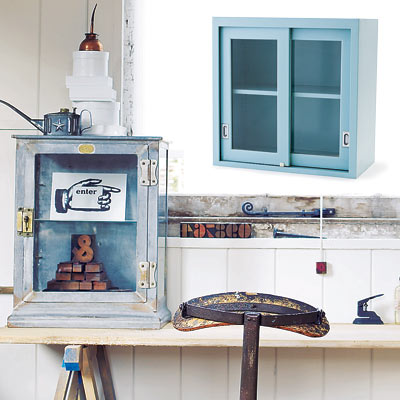 rustic workspace with steel cabinet