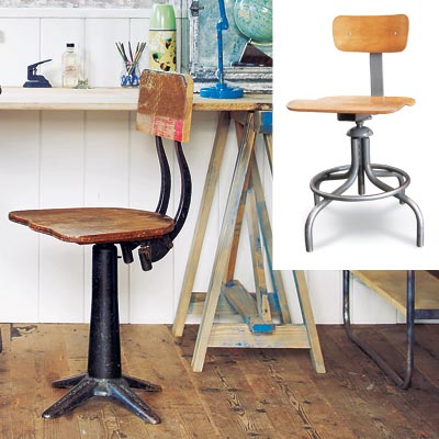 rustic workspace with industrial stool