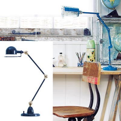 rustic workspace with adjustable table lamp