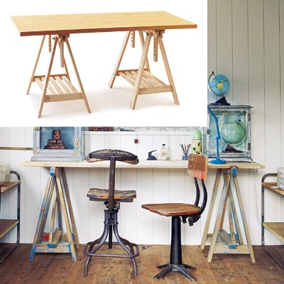 rustic workspace with sawhorse table