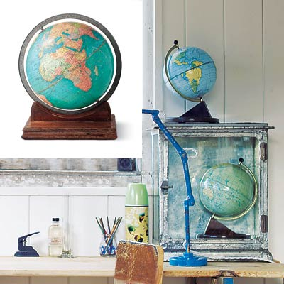 rustic workspace with desk globe
