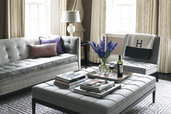 neutral living room with gray tones and purple accents