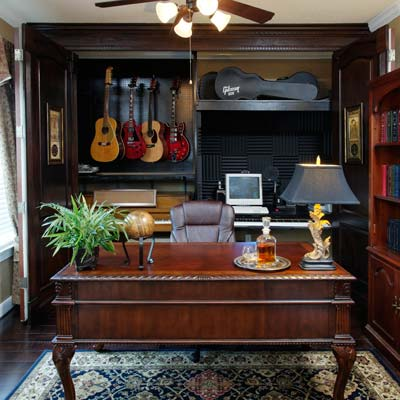 home office with hobby room and music storage