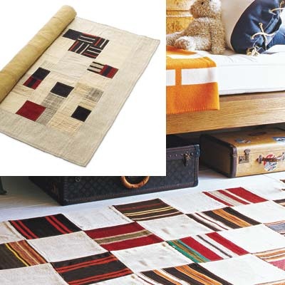 cabin style bedroom with flat weave multi colored rug