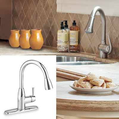 kitchen with taupe tile backsplash and chrome faucet