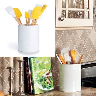 taupe kitchen with yellow cooking tools