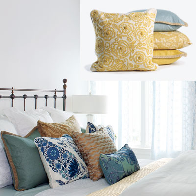 light airy bedroom with plush pillows