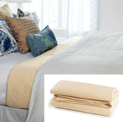 light airy bedroom with luxe coverlet
