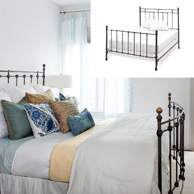light airy bedroom with black iron bed frame
