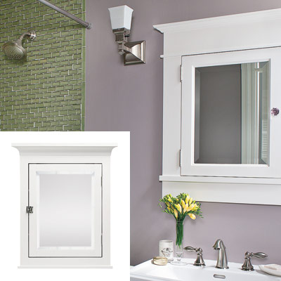 sage and lavender bathroom with mirrored medicine cabinet