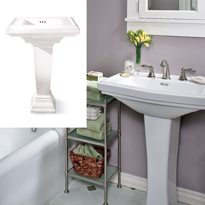 sage and lavender bathroom with pedestal sink
