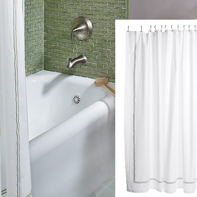 sage and lavender bathroom with shower curtain