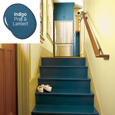 back stairs to kitchen painted rich blue