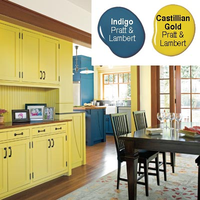 dining room cabinetry painted greenish gold to connect to kitchen color scheme