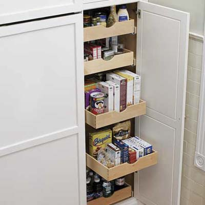 pull-out storage in this remodeled kitchen