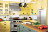 traditional kitchen with yellow cabinets and affordable upgrades