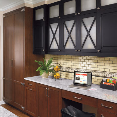 period style kitchen with x front cabinets