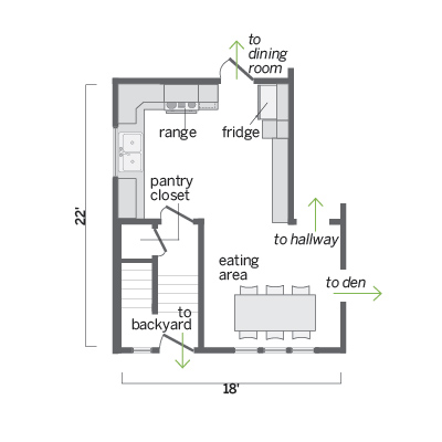 floor plan of outdated kitchen
