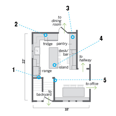 floor plan of remodeled kitchen