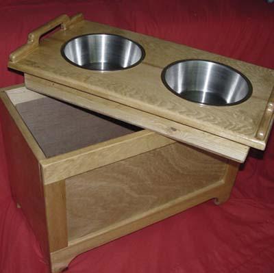 wood dog feeding station