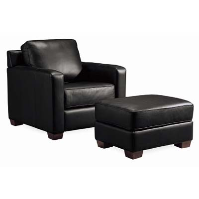 black leather box-cushioned metro chair
