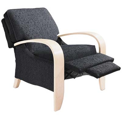 curved maple venneer-armed carlyle recliner