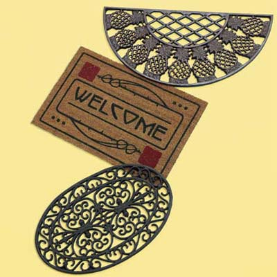 three distinctive doormats; welcome mats