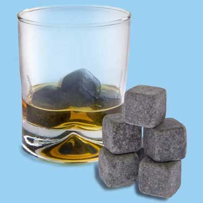 Whiskey Stones by Vat 19 which are soapstone cubes in place of ice cubes to keep drinks cold without watering them down
