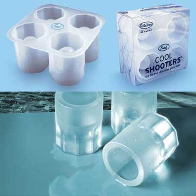 Cool Shooters; an ice tray for making cup-shaped ice for shots or cold drinks