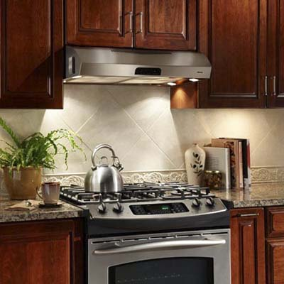 stainless steel range hood above stove