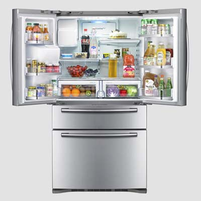 samsung refrigerator with open doors and bottom freezer