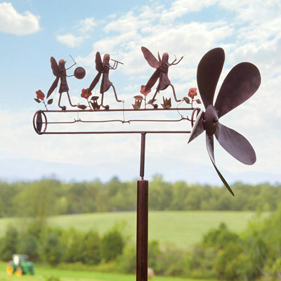 vintage-style whirligig with pinwheel and metal dog topper