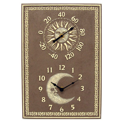metal clock and thermometer from bellacor