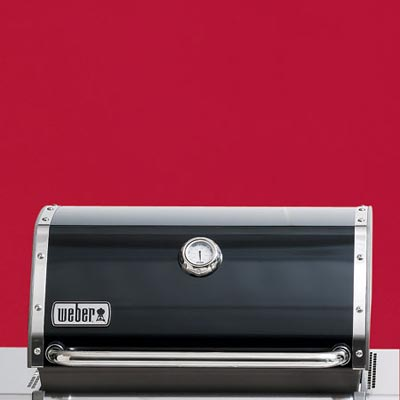 the Weber Genesis-310 three-burner propane grill close up on the lid